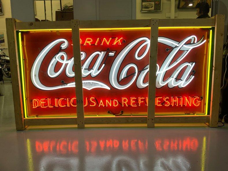 4 X 8 Massive original Porcelain Coke sign with new neon