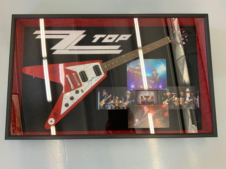 Autographed ZZ Top custom framed Flying V guitar with COA