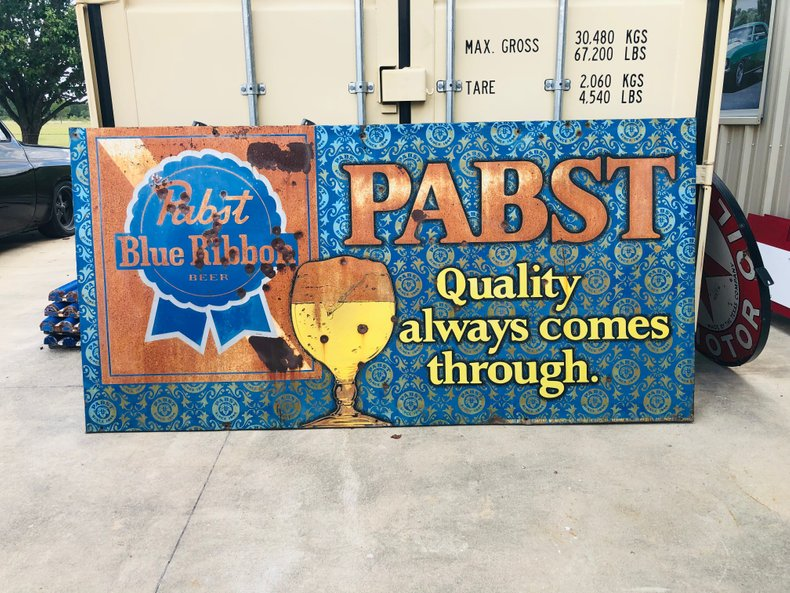 Vintage Patina Pabst Blue Ribbon 4 X 8 wide sign