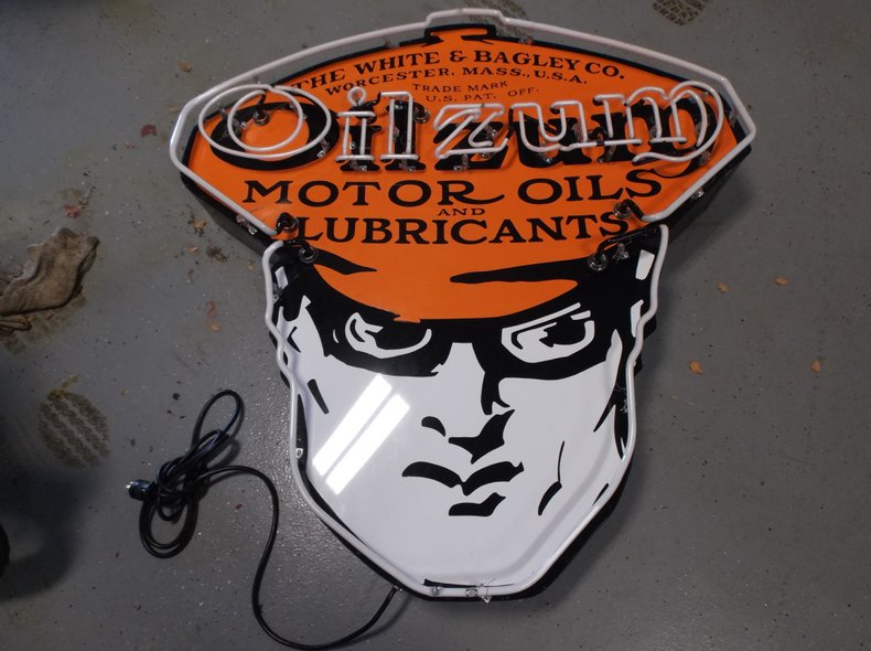 Oilzum 1 of 1 custom made die cut metal and hand painted neon sign