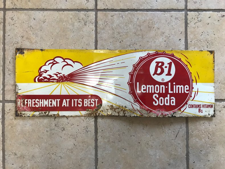"Original B1 Lemon Lime sign ""Refreshment at it's best"""