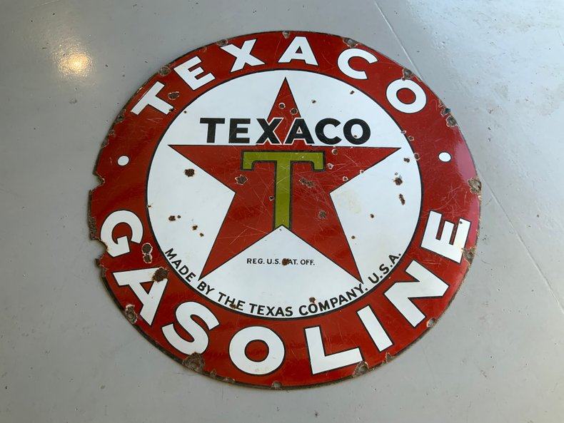 "One sided Original Texaco Porcelain 42"" sign great display"