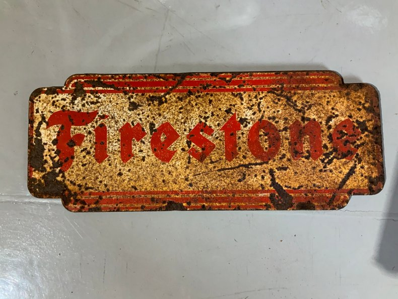 ORIGINAL FIRESTONE METAL SIGN GOOD PATINA