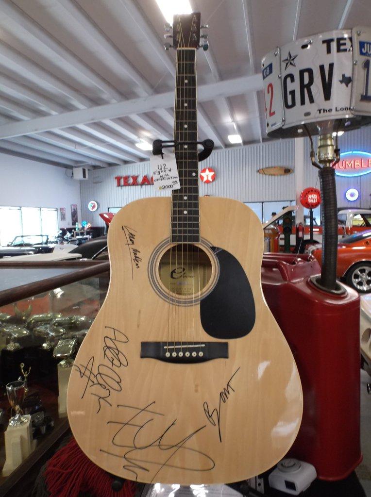 U2 Signed Natural Eleca Acoustic Guitar