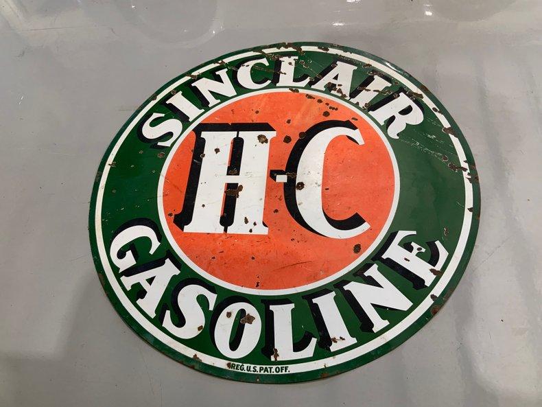 "ORIGINAL SINCLAIR H/C 72"" ROUND DOUBLE SIDED PORCELAIN SIGN"