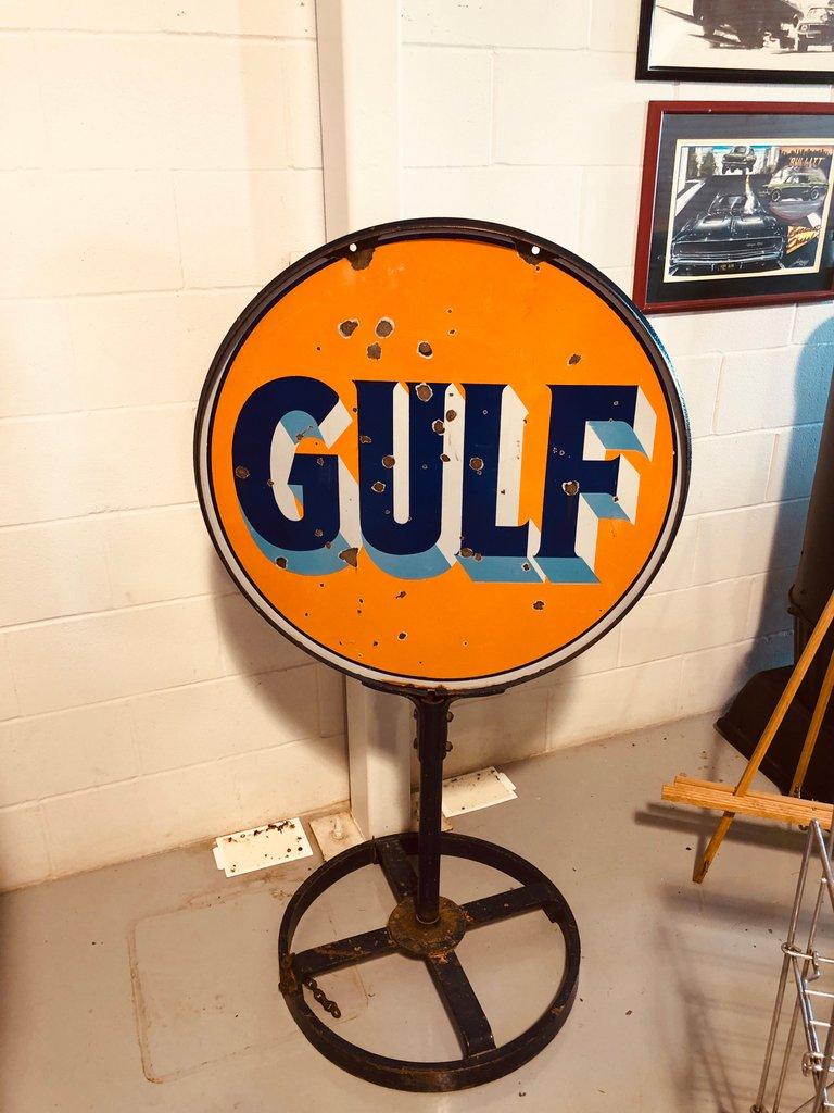 ORIGINAL GULF GAS STATION LOLLY POP SIGN RARE FIND