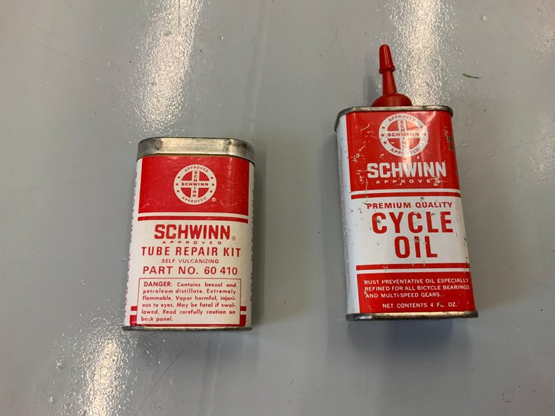 Original Schwinn bicycle oil and tire patch kit
