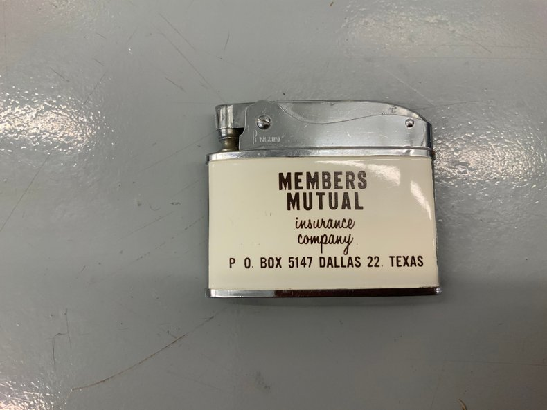 Members Mutual lighter advertisement from Dallas, Texas