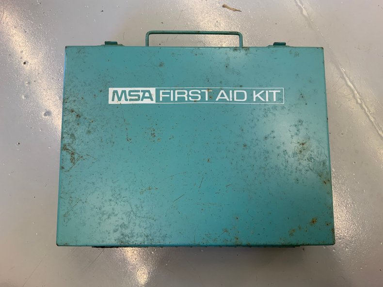 Original first aid kit metal box nice shape