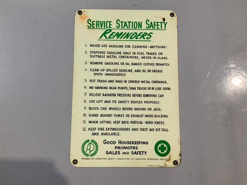 Nice original service station rules sign