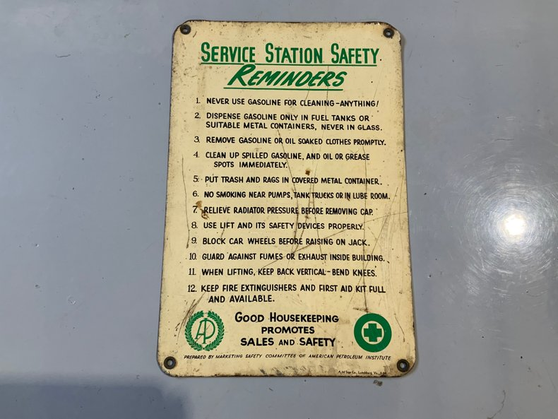 Original service station safety rules sign