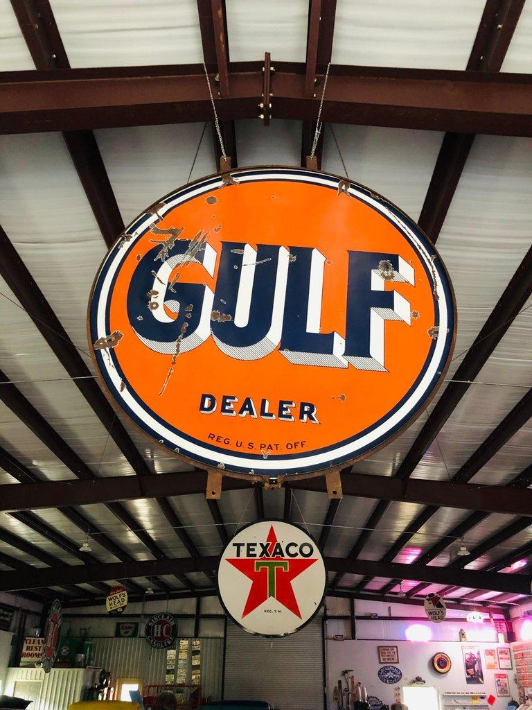 6 ft GULF porcelain Dealer sign
