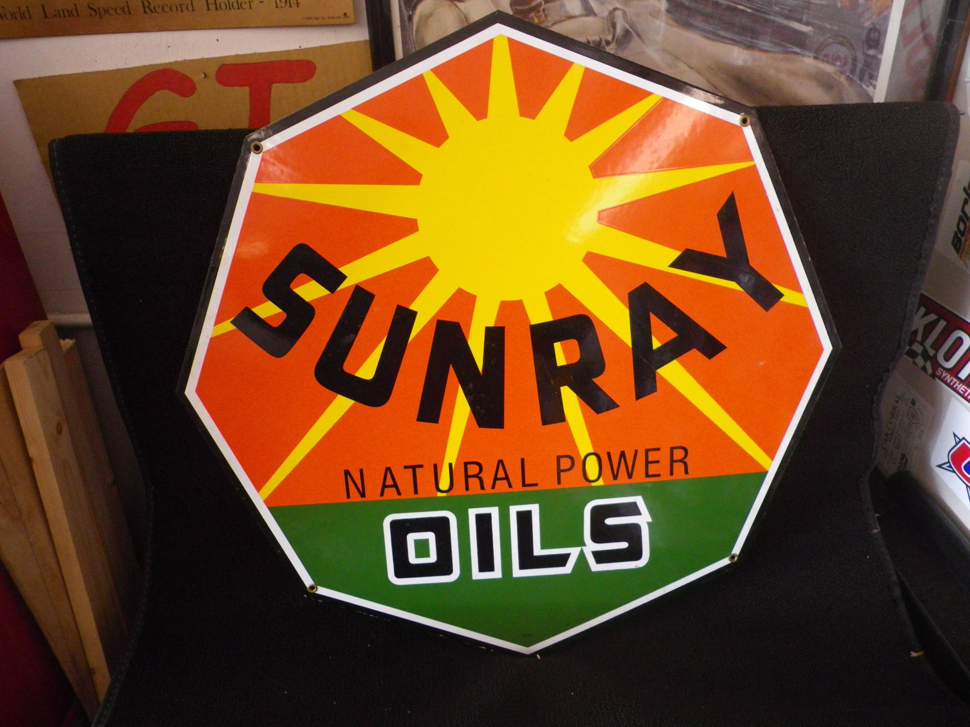 Collectible item sunray oils sign