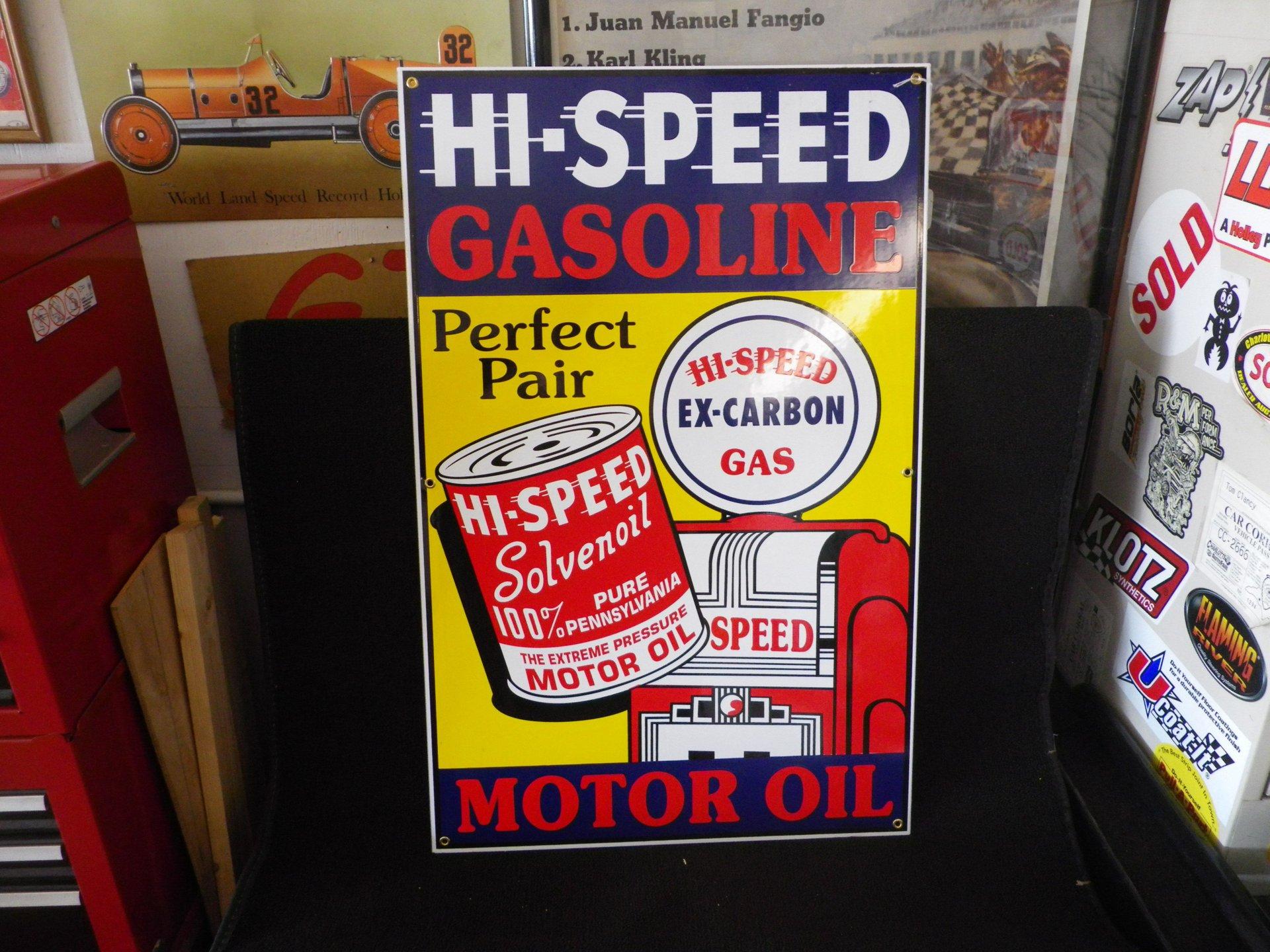 Collectible item hi speed gasoline sign