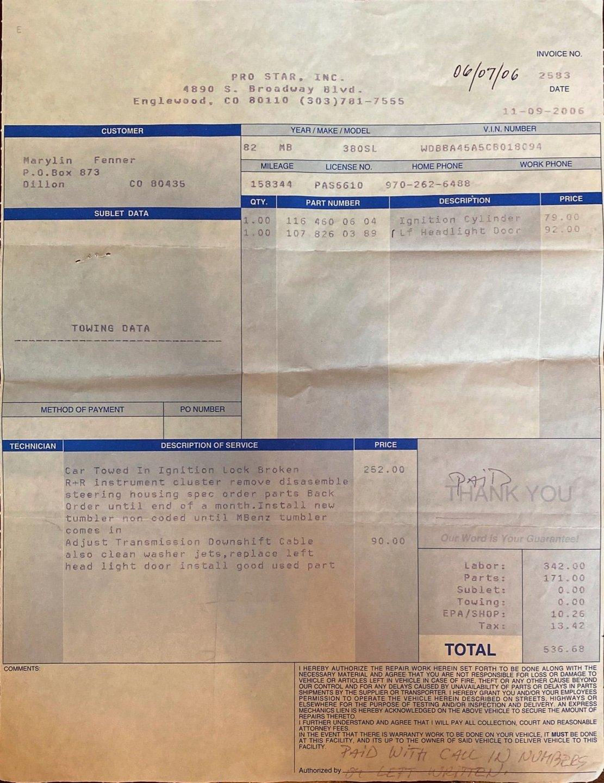 1982 Mercedes 380SL